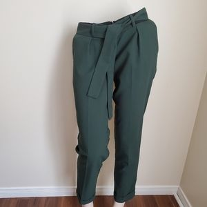 Asos Green Belted Pant Croopped Length/ Size 4